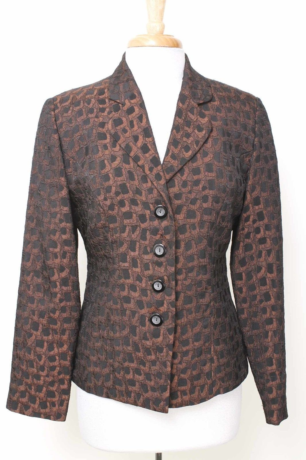 SUI by Justin Taylor Black & Bronze 4 Button Blazer NWOT Size 12 - 294 T215