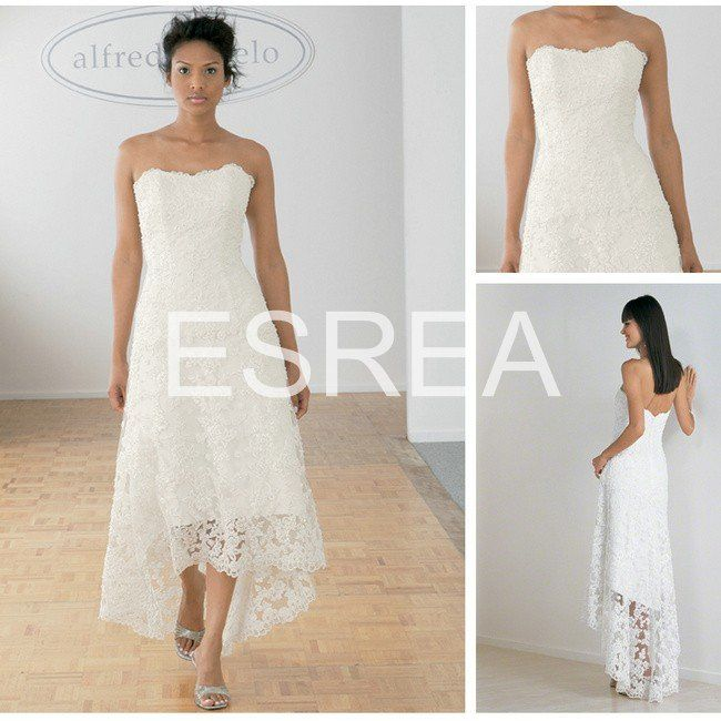 Wholesale GD144 2012 Designer White Lace Low Back Tea Length Beach Wedding Dresses
