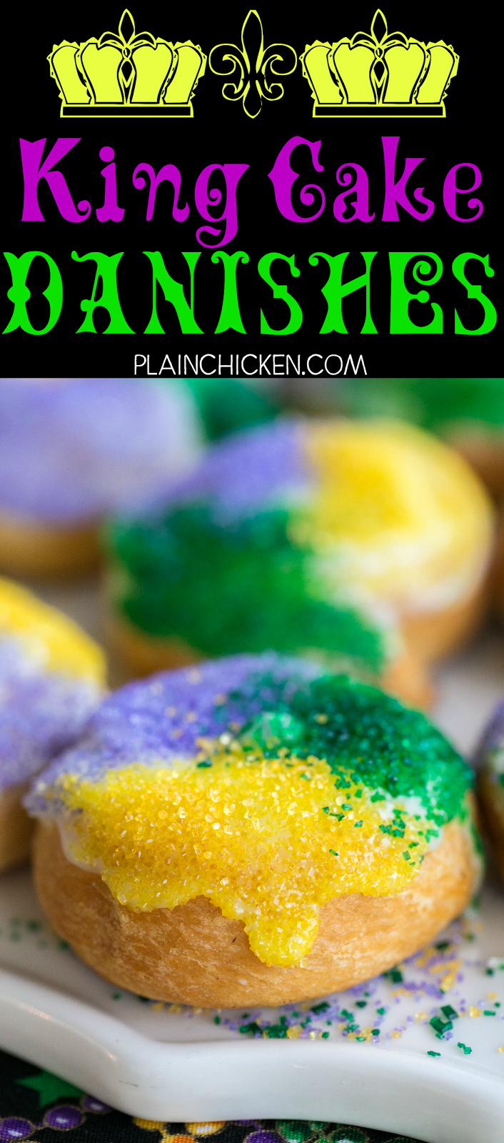King Cake Danishes Only 5 Ings These Things Are Soooo Good Perfect For Mardi Gras Crescent Rolls Cinnamon Cream Cheese Powdered Sugar And