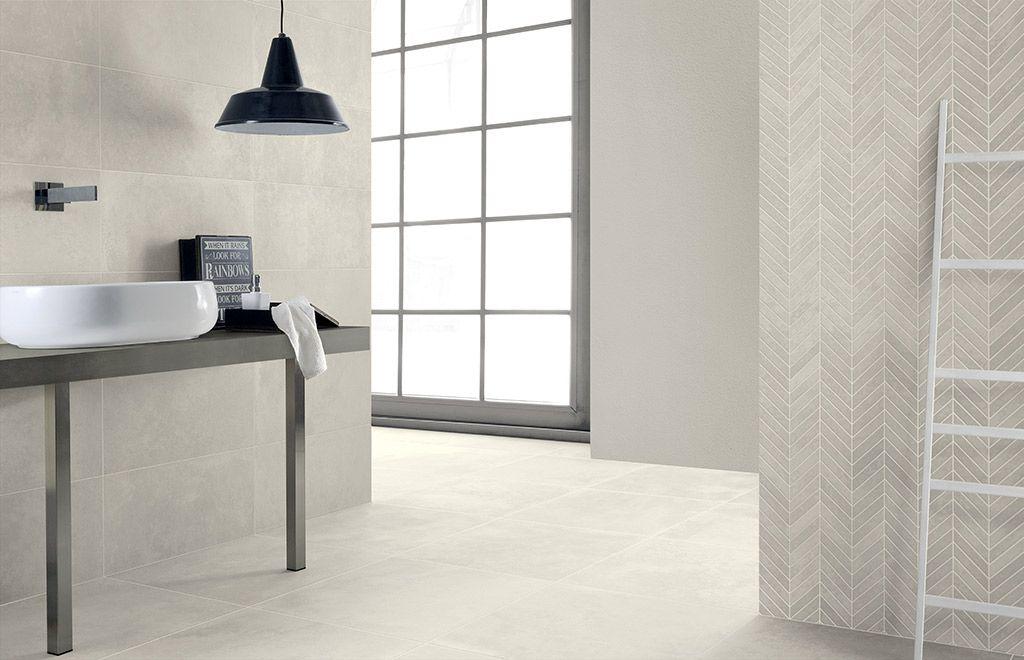 Carrelage de salle de bain style béton ciré beige EAST END Compo 2 - image carrelage salle de bain