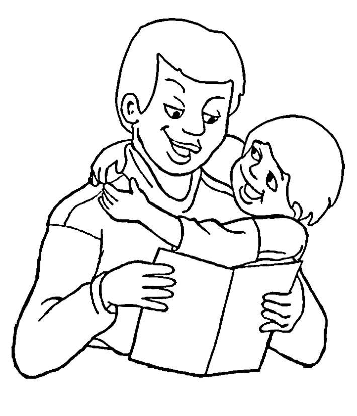 Dad Reading Book On Father's Day Coloring Page Kids