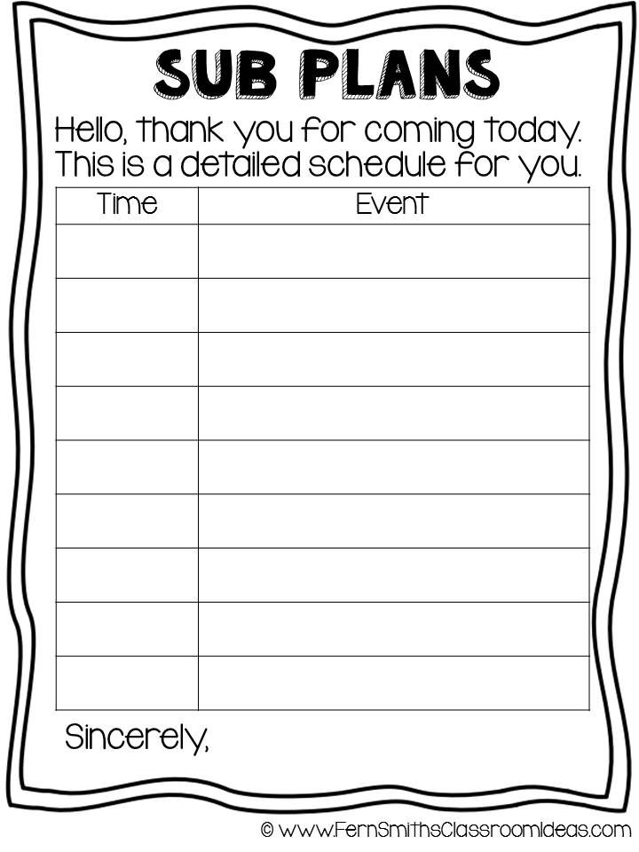 Tuesday Teacher Tips Sub Plans Free printable, Tuesday and Teacher - art lesson plans template
