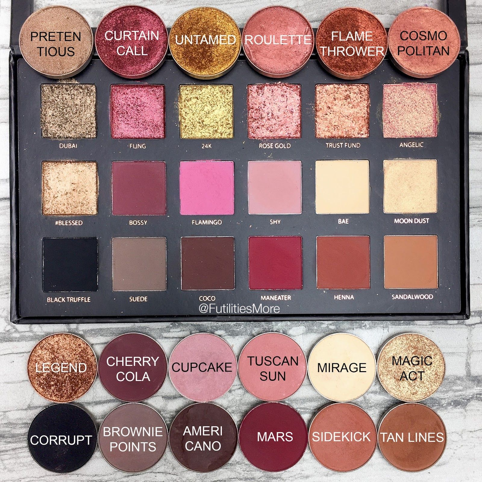 Huda Beauty Rose gold Textures shadows palette dupes with Makeup ...