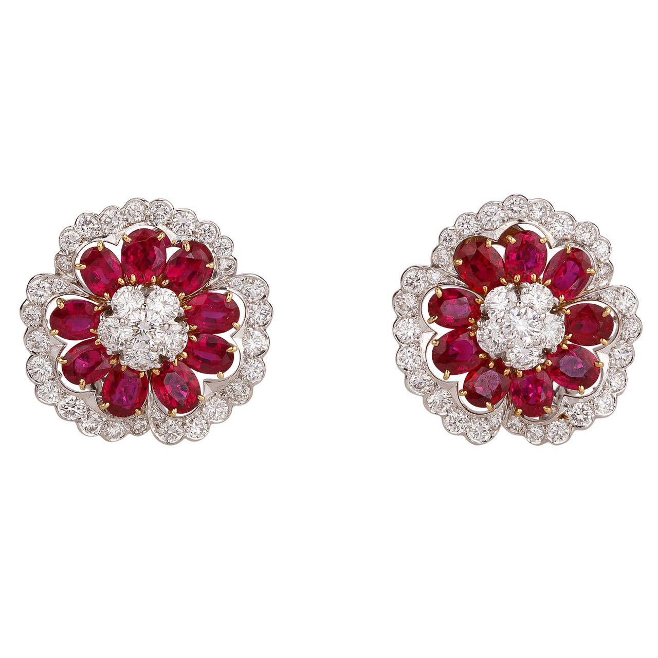 Van Cleef & Arpels Ruby Diamond Camellia Earrings