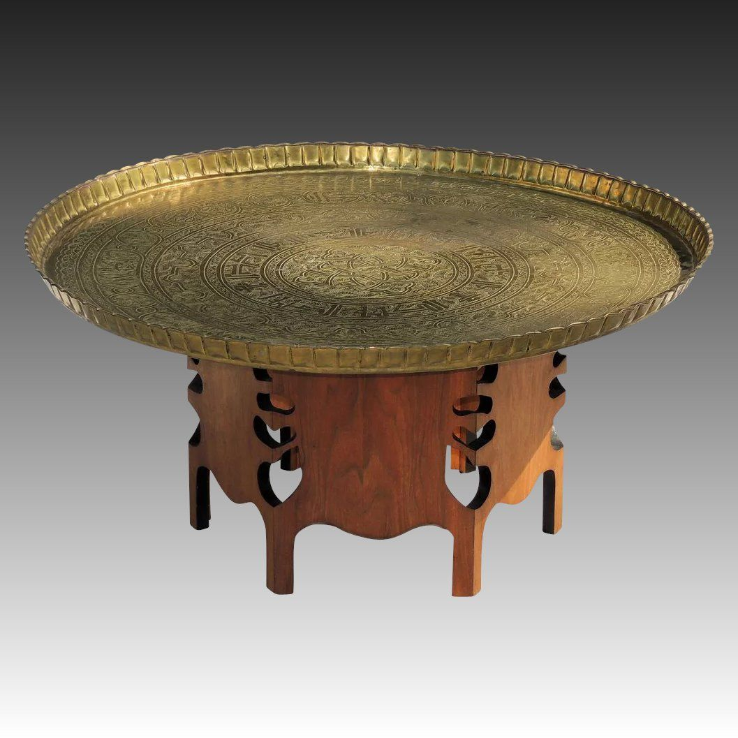 Vintage 1950s Moroccan Brass Tray Table Table Decor