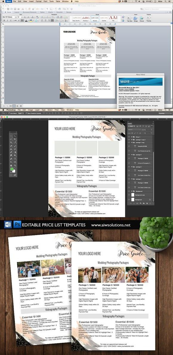 Price List Templates Photography Price List Template Id06  Photography Price List .