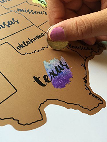 Frameable World Map.United States Of America Usa Us Watercolor Art Scratch Off Map