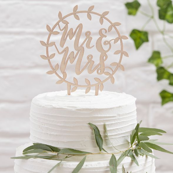 Rustic Wooden Botanical PERSONALISED Mr and Mrs Wedding Cake Topper Decoration
