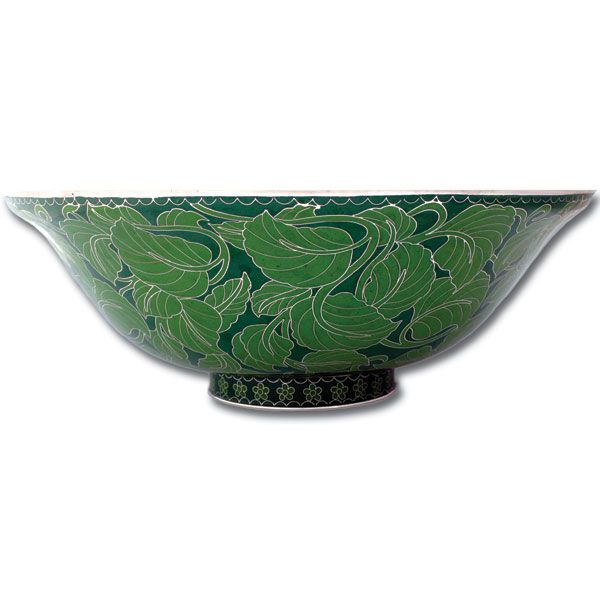 Linkasink CL01 Cloisonne Green Leaves Vessel Sink   Wave Plumbing