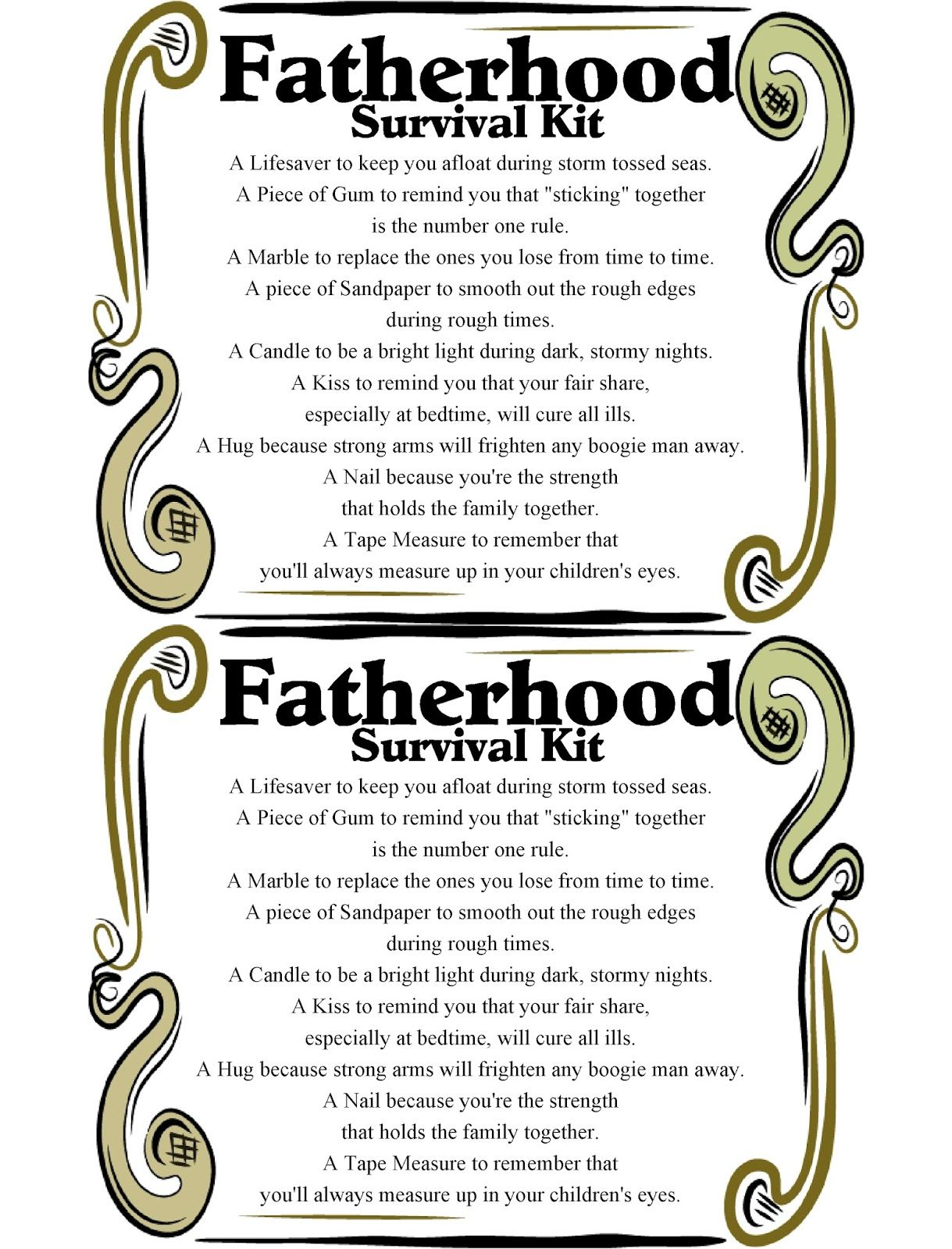 Fatherhood Survival Kit Printable Survival Kit Gifts Dad