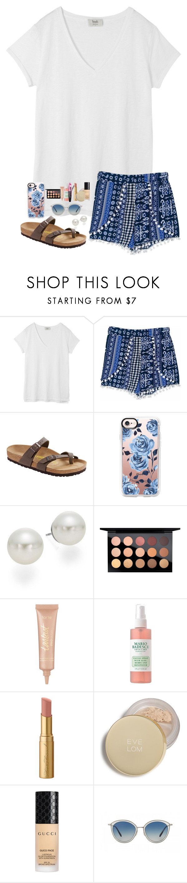 """spring break is officially here!!!!"" by kellycarrick ❤ liked on Polyvore featuring Hush, Birkenstock, Casetify, AK Anne Klein, MAC Cosmetics, tarte, L'Oréal Paris, Too Faced Cosmetics, Eve Lom and Gucci"