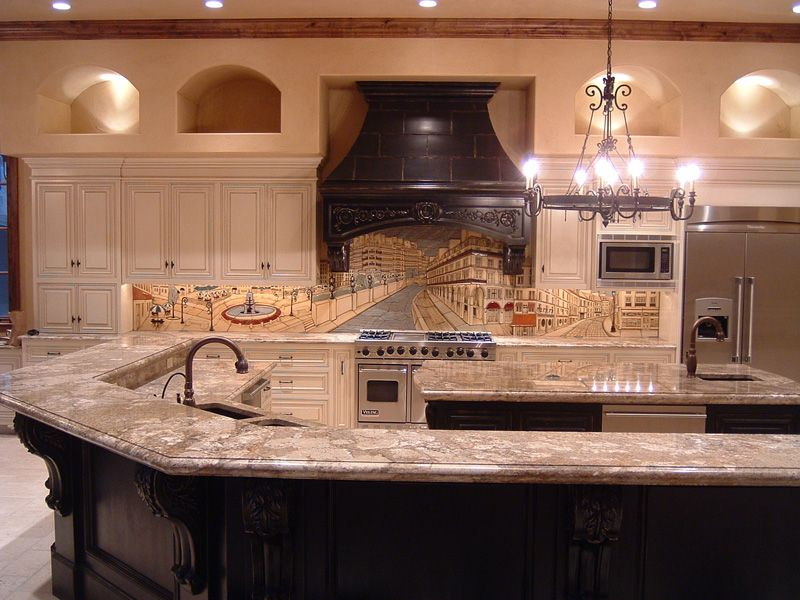 Paris Scene Custom Tile Mural For Kitchen Backsplash Home Kitchens