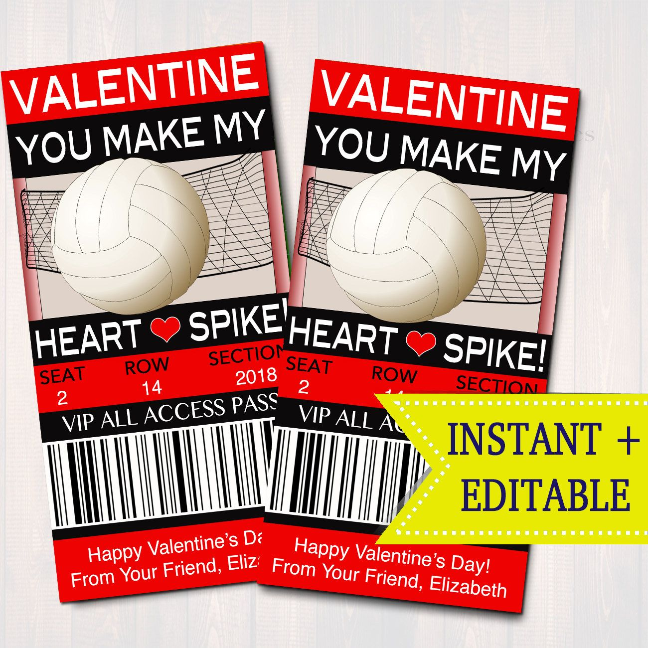 Editable Volleyball Ticket Valentine S Day Cards Instant Etsy In 2020 Classroom Valentine Valentine Day Cards Easy Diy Valentine S Day Cards