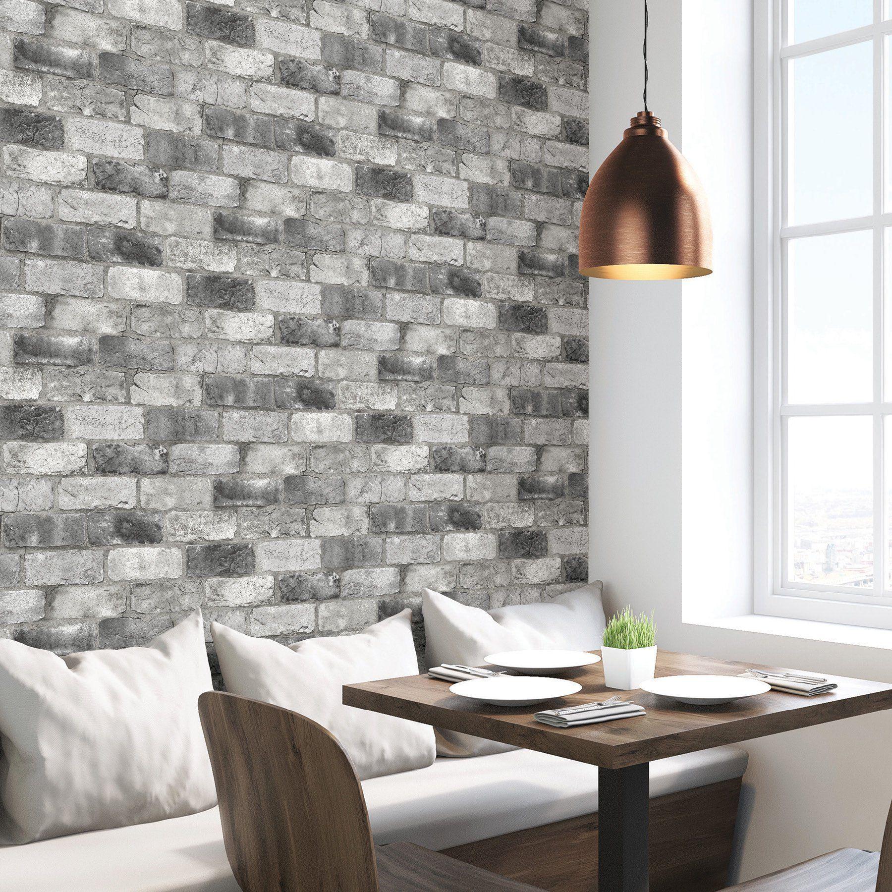 Nuwallpaper Grey London Brick Peel Stick Wallpaper Walmart Com In 2021 London Brick Brick Wallpaper Accent Wall Fake Brick Wall