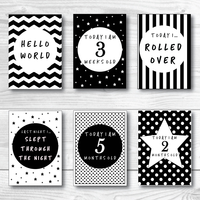 Baby Milestone Cards Set Black White Monochrome Unisex Gender Etsy In 2021 Baby Milestone Cards Printable Milestone Cards Baby Milestone Cards