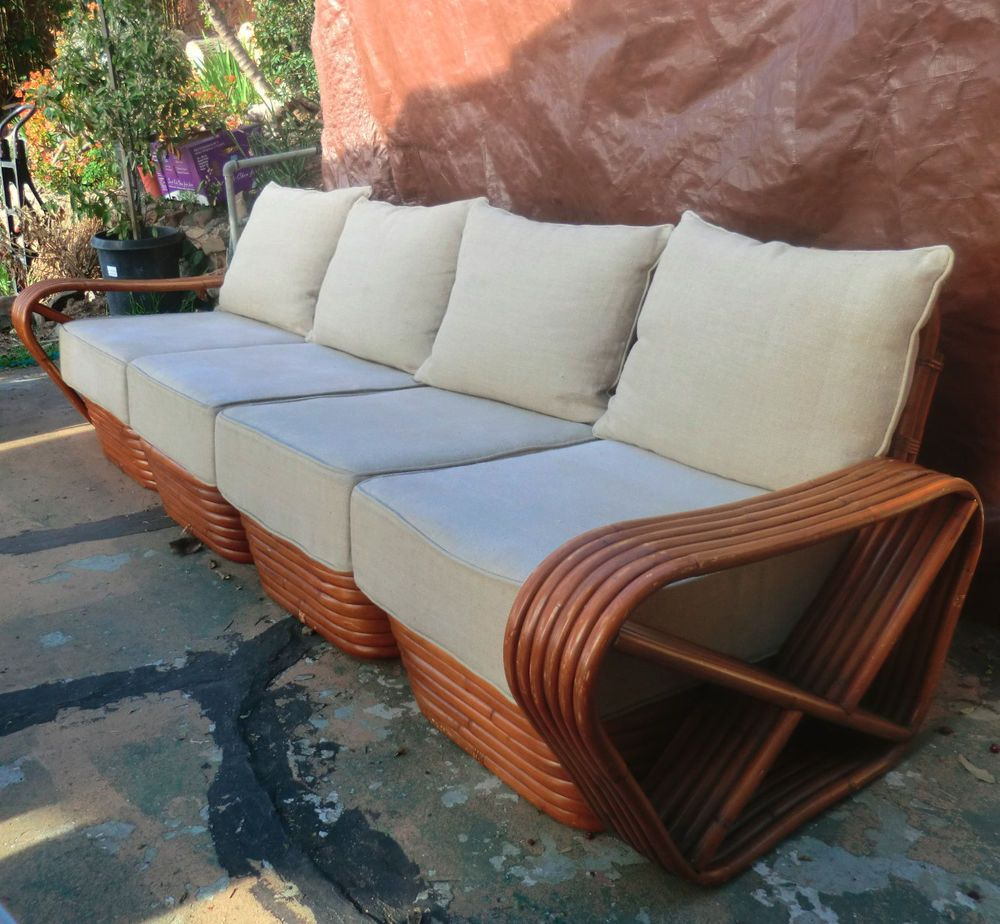 Mid Century Paul Frankl 6 Strand Square Pretzel Rattan 4 SEAT Sectional  Couch