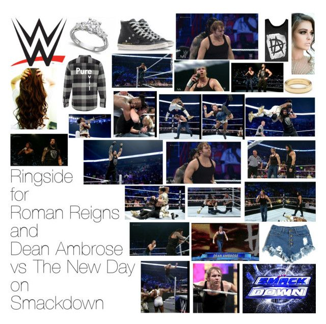 """Ringside for Roman Reigns and Dean Ambrose vs The New Day on Smackdown"" by wwediva72 ❤ liked on Polyvore featuring Golden Goose and Tiffany & Co."