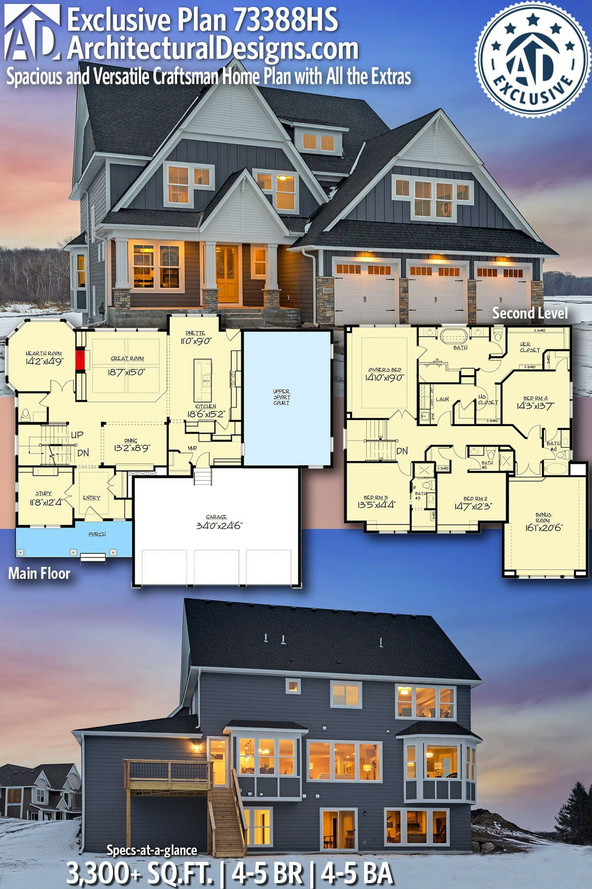 Architectural designs exclusive house plan hs gives you bedrooms also best homes for the sloping lot images in architecture rh pinterest
