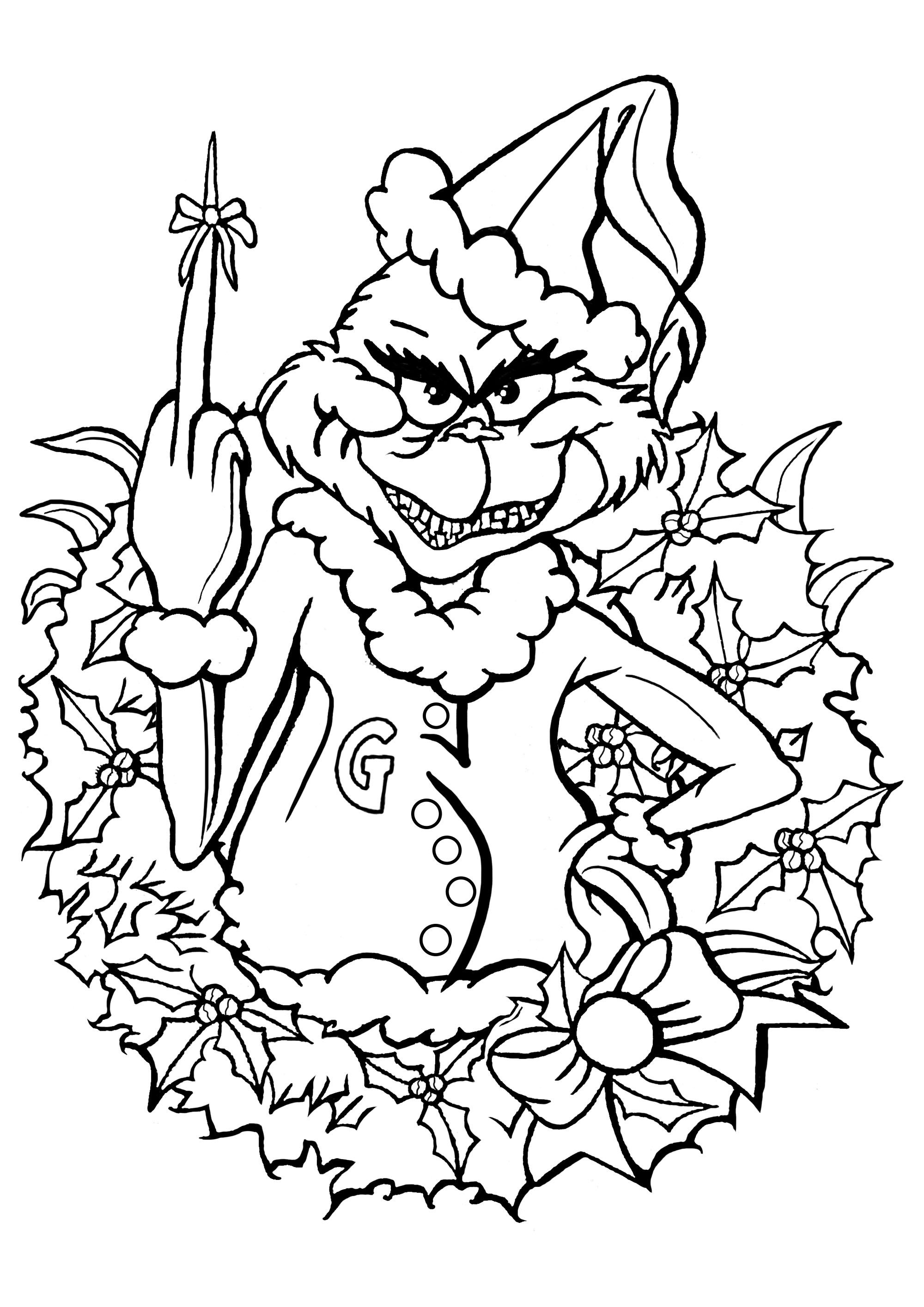 The Grinch Celebrate Christmas With The Grinch He Has A Small Gift For You The Grinch In 2020 Grinch Coloring Pages Shape Coloring Pages Detailed Coloring Pages