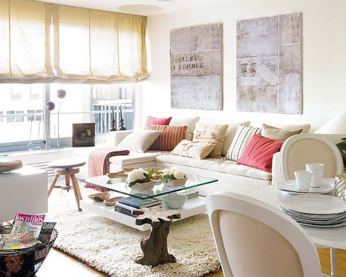 The vintage stool...the comfy couch...the open airy apartment space...love!