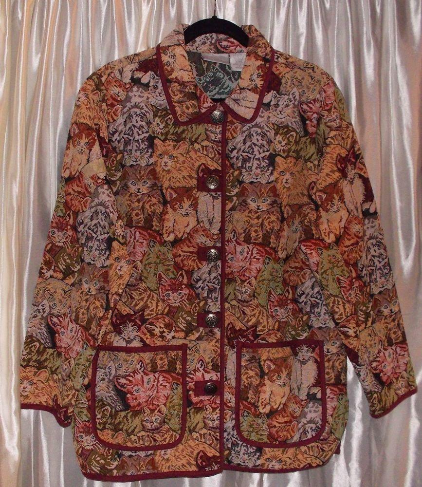 Cat Kitten tapestry heavy cotton jacket lovely metal button Large washable Blair #Blair #BasicJacket