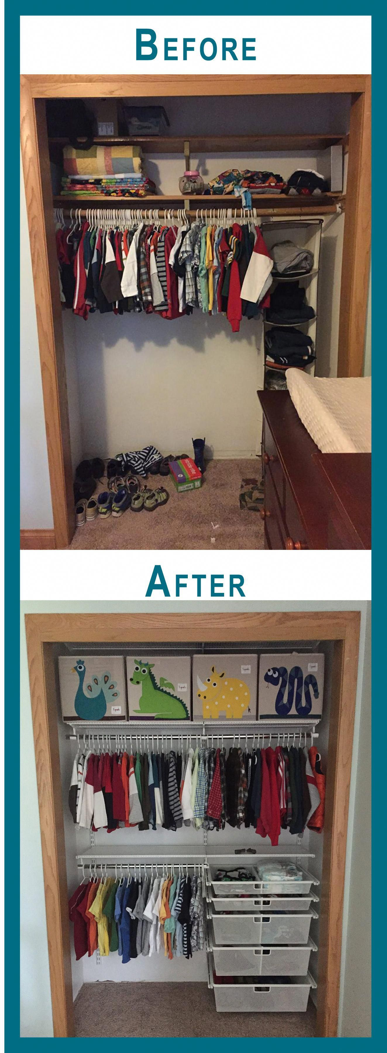Fun closet makeover. Clothing is now accessible for the