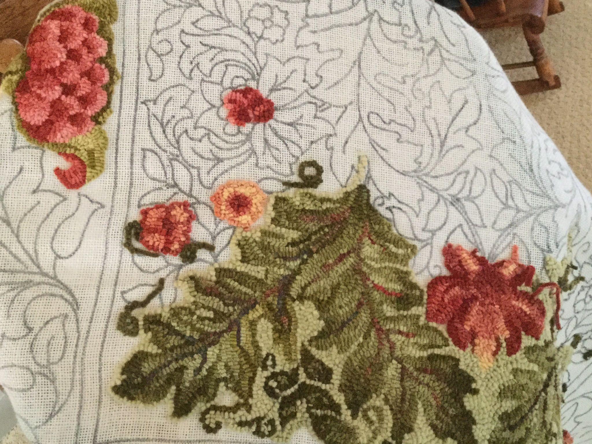 William Morris Rug Pattern Hooking By
