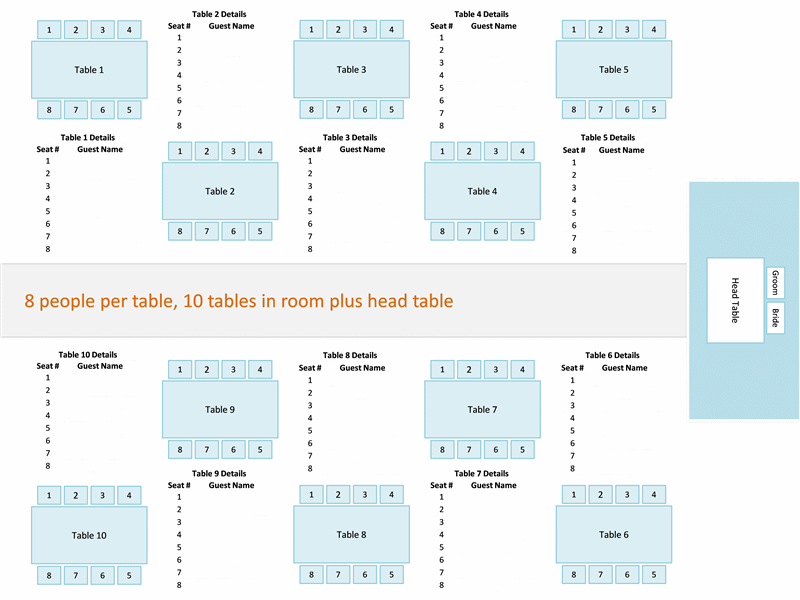 Microsoft Free Seating Chart Helper Arrangement Wedding Reception Layout