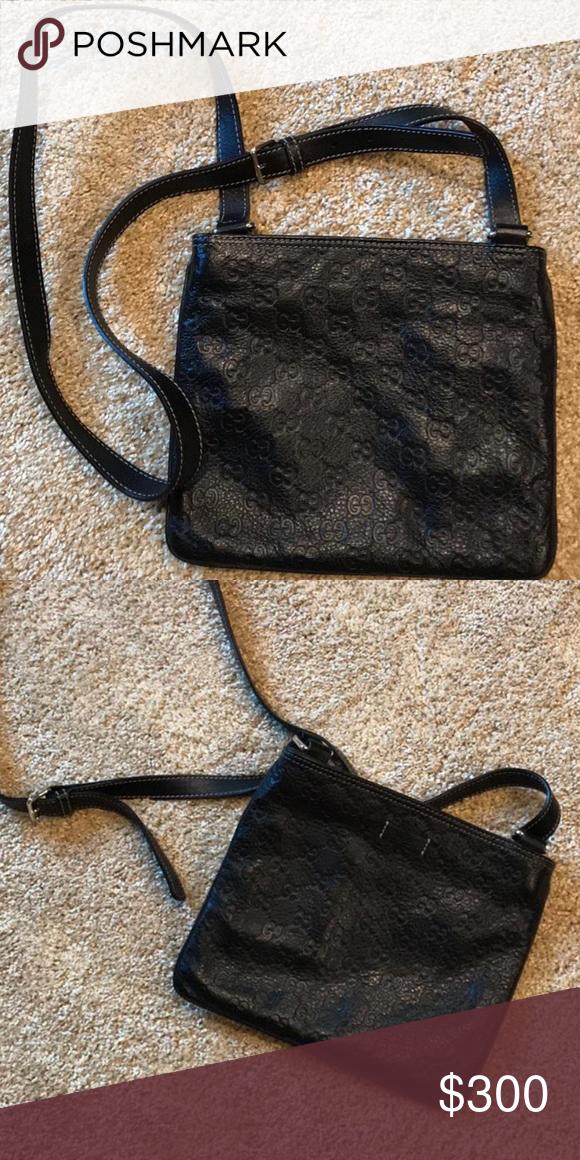 1e5247fa3ca4 Gucci Messenger Bag Authentic Black Gucci Gg Signature Crossbody Black  Leather Messenger Bag Gucci Bags Crossbody Bags