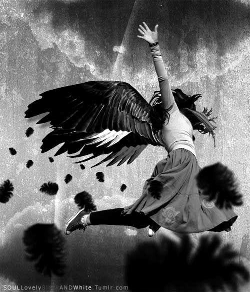 Flying Girl in Black & White.