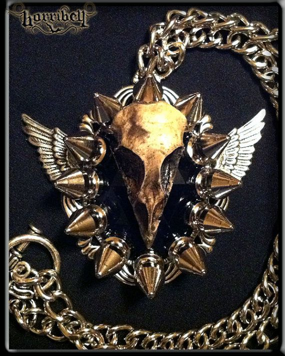 Spike Necklace with Bird Skull & Wings - Apocalypse - steampunk, gothic, taxidermy. $38.00, via Etsy.
