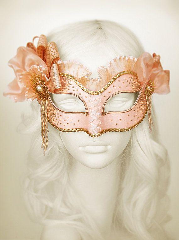 foto de Light Salmon Pink And Gold Masquerade Mask Venetian Mask