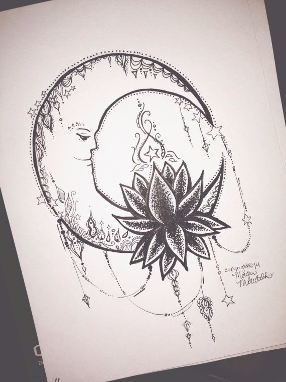 Lotus Moon By Morganscanvas On Etsy 5 99 Ng Tatto Pinterest