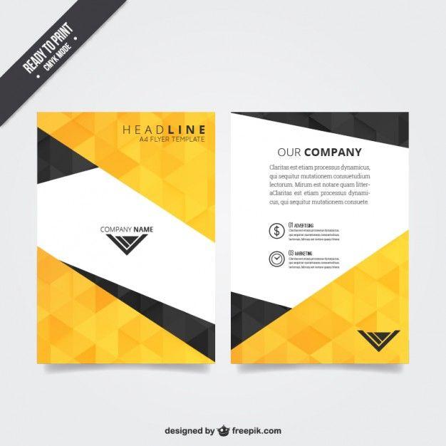 plantilla de folleto con diseño poligonal vector gratis