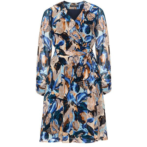 Manon Baptiste Blue / Multicolour Plus Size Ruffle front wrap dress ($200) ❤ liked on Polyvore featuring dresses, blue, plus size, plus size chiffon dresses, long sleeve chiffon dress, women plus size dresses, long sleeve v neck dress and blue knee length dress