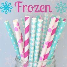 125pcs Mixed Colors Frozen Party Paper Straws,Light Blue Hot Pink Stripes,Light Blue White Dots,Aqua Harlequin,Hot Pink Heart(China (Mainland))