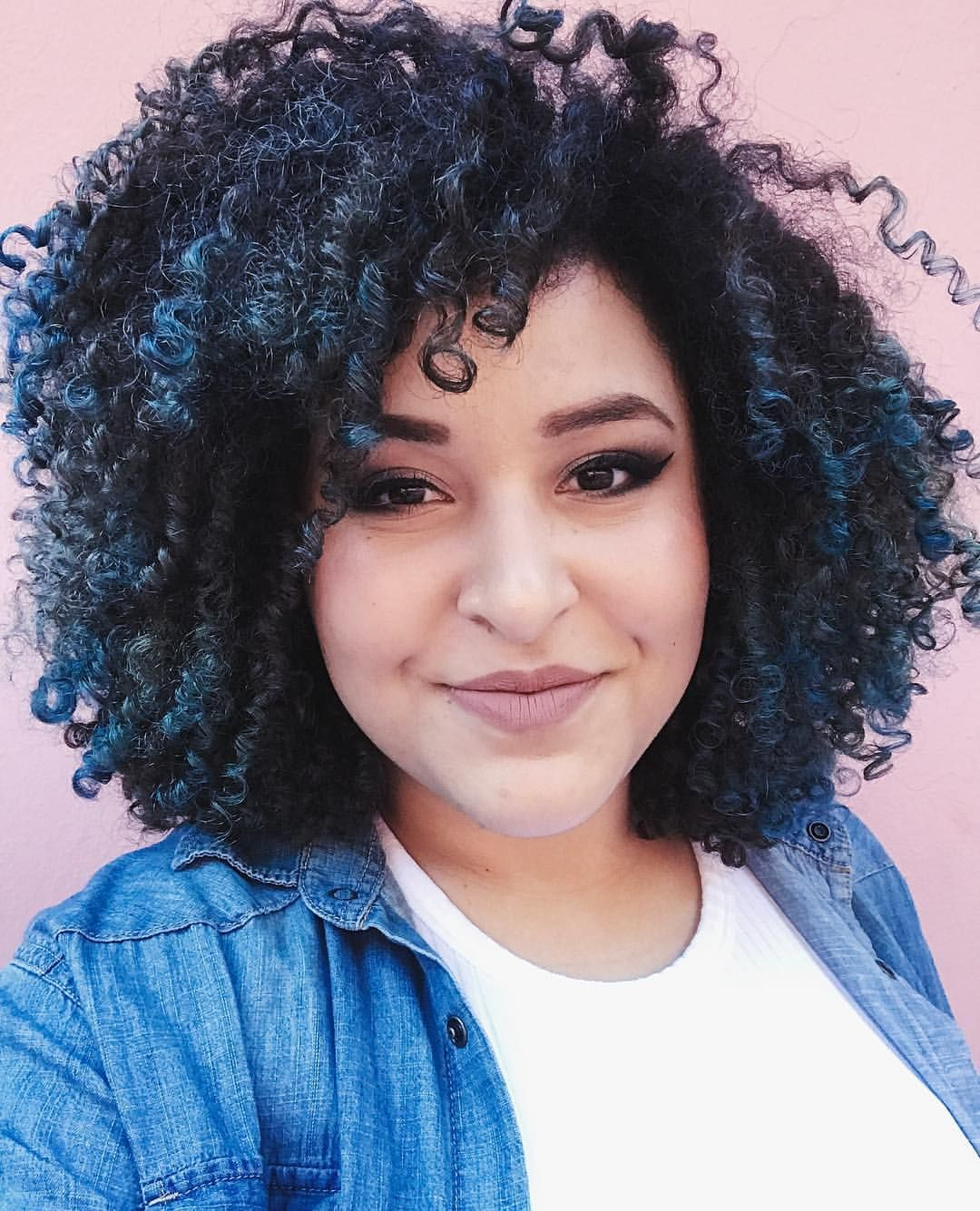 Blue Highlights Curly Hair 3b 3c Afro Natural Hair Pinterest