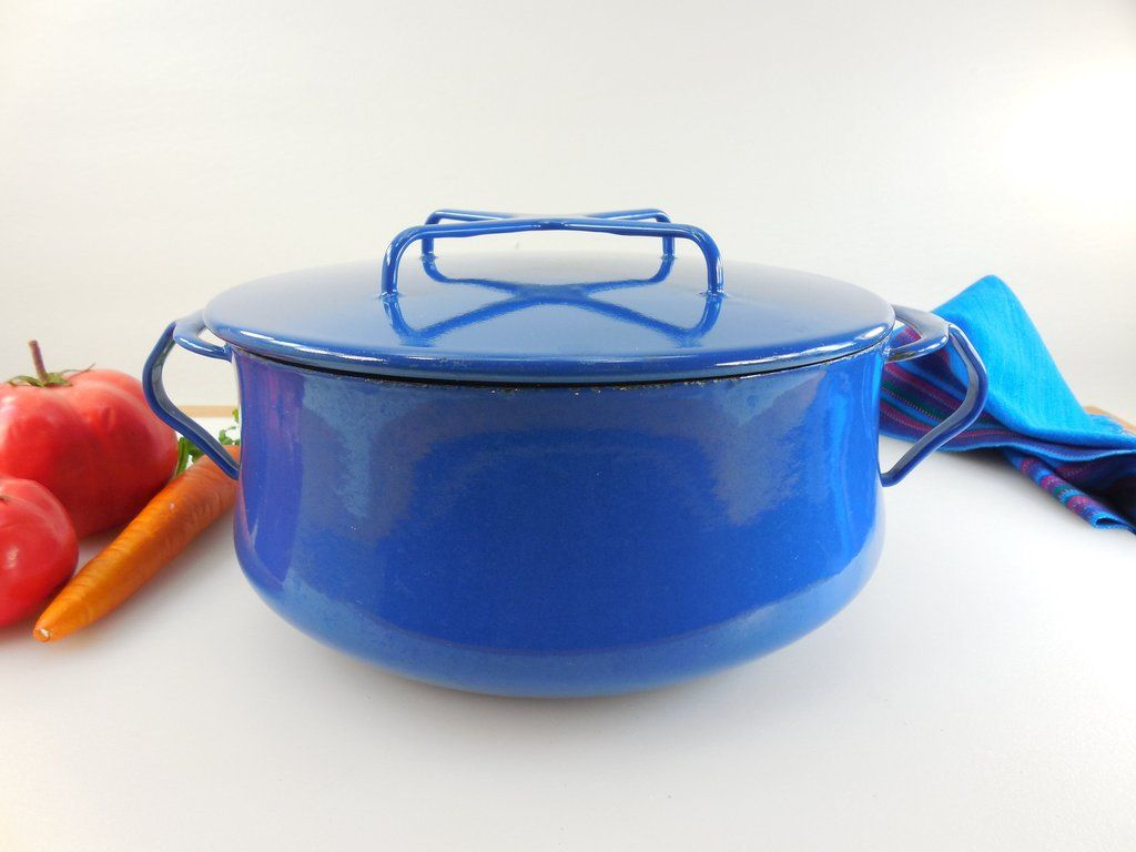 Sold Dansk France Vintage Kobenstyle Casserole Pot Dutch Oven 3 4 Quart Blue White Orange Kitchen Vintage Cookware Cast Iron Dutch Oven