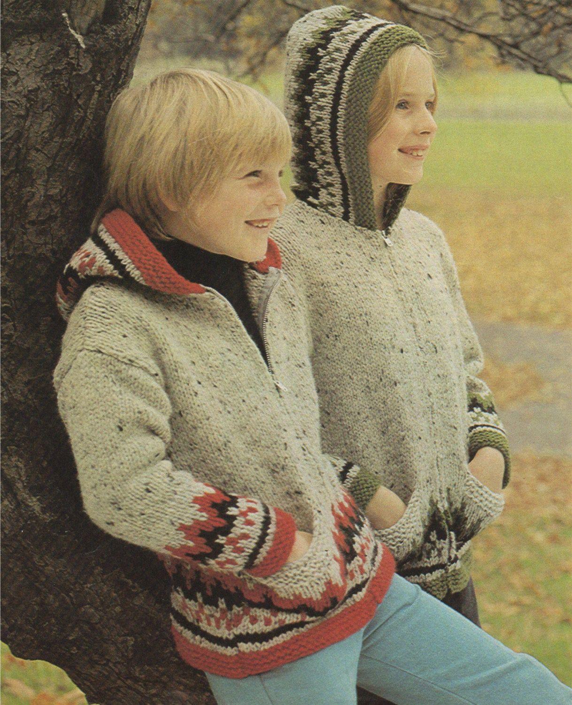Childrens Fair Isle Hooded Jacket / Hoodie Cardigan PDF Knitting ...