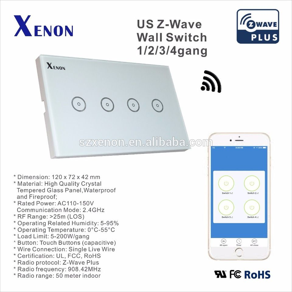 Xenon Z-wave wall switch Wifi light switch socket touch screen ...