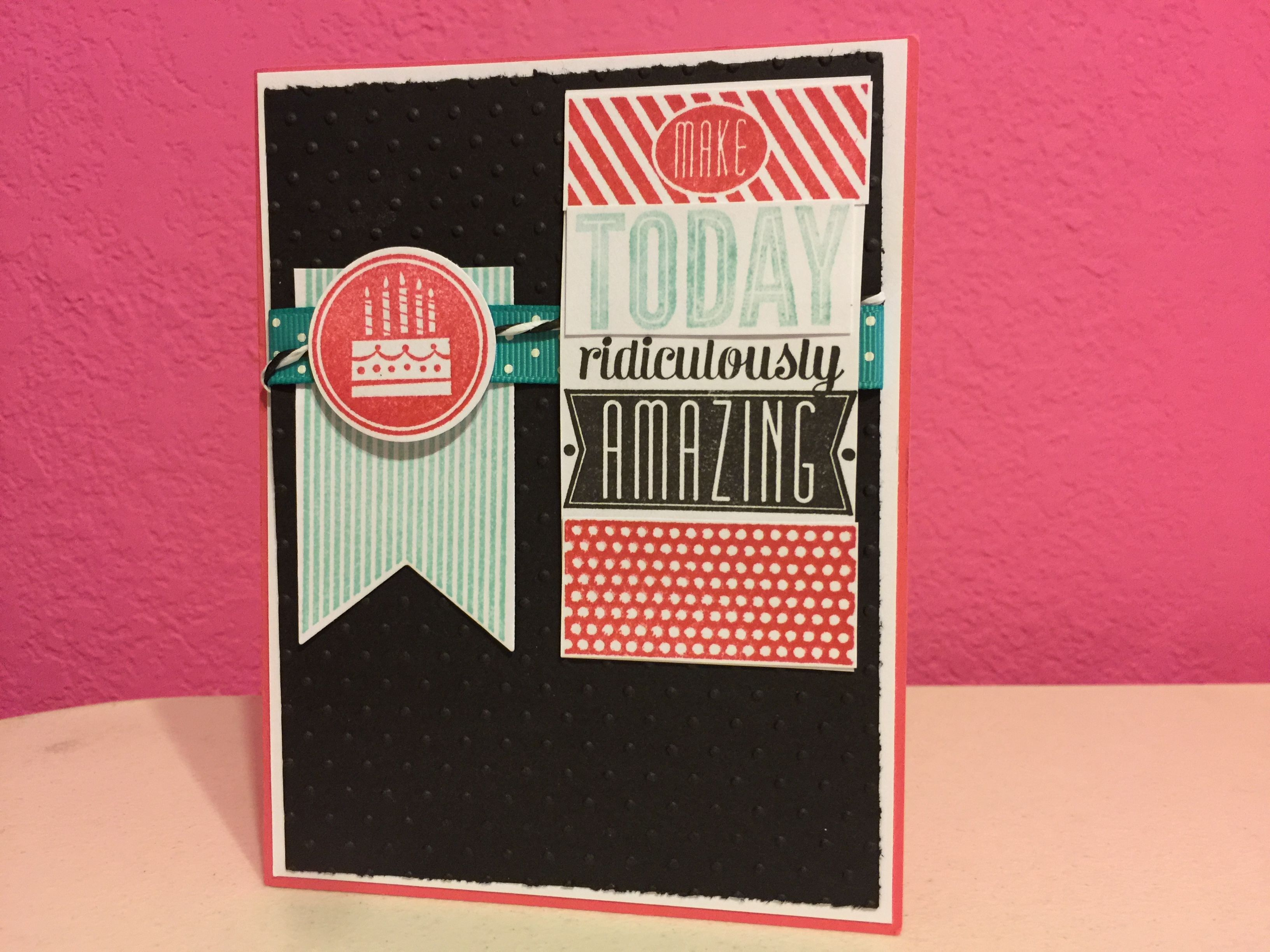 Handmade Stampin Up Birthday Card By Jessica Pink Aqua Black And