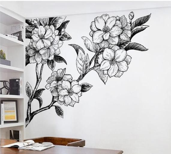 Big Flowers Hand Painting White And Black Wall Decal