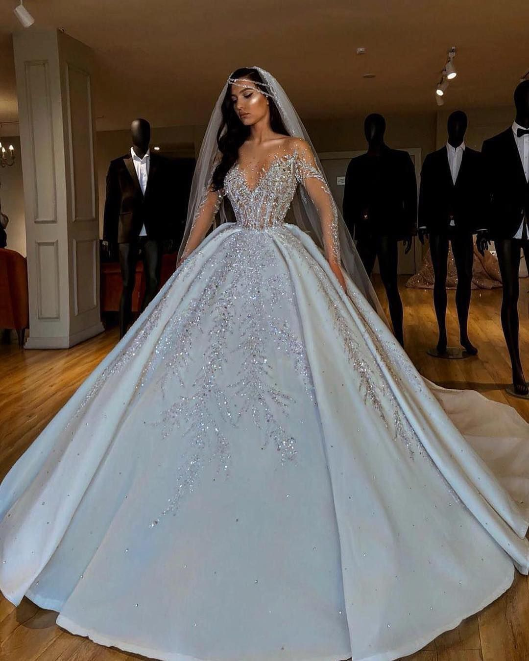 Insta World Of Fashion Photos Videos White Ball Gowns Ball Gown Wedding Dress Long Sleeve Bridal Dresses [ 1350 x 1080 Pixel ]