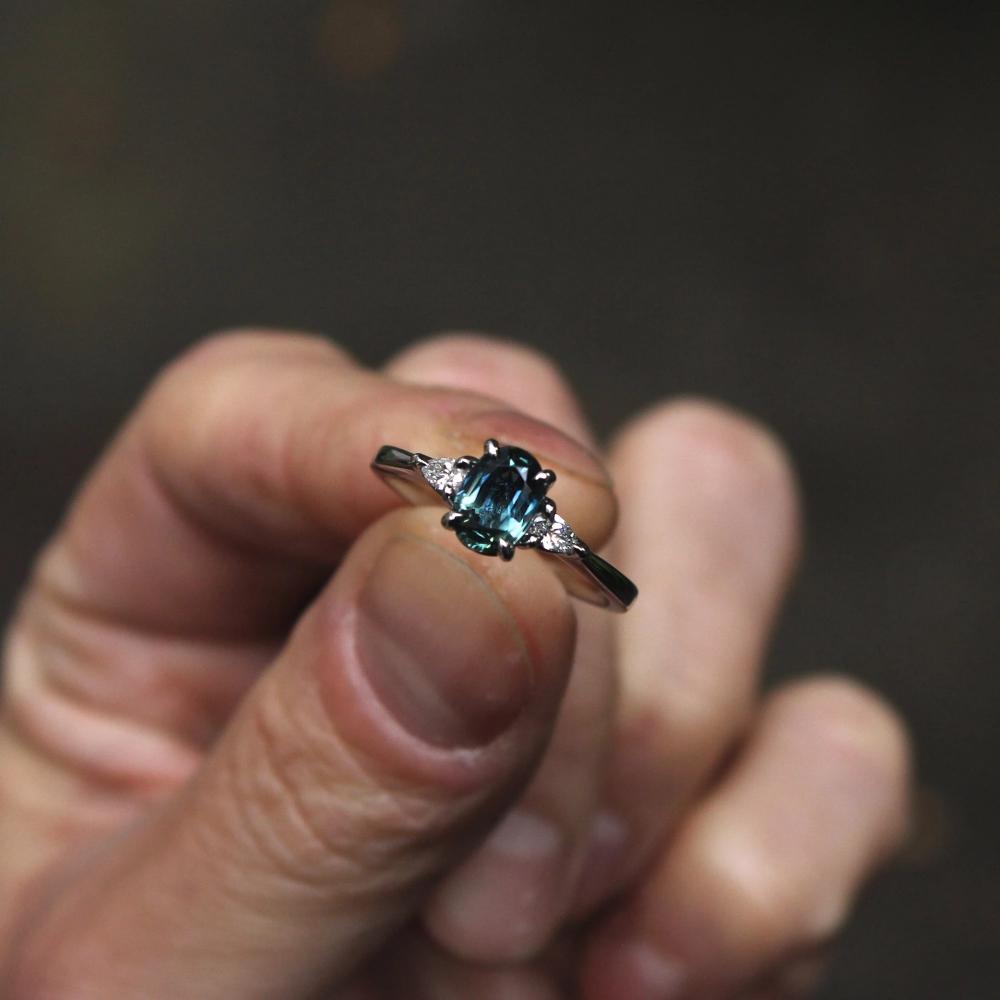 Teal Sapphire & Diamond Engagement Ring Sapphire diamond