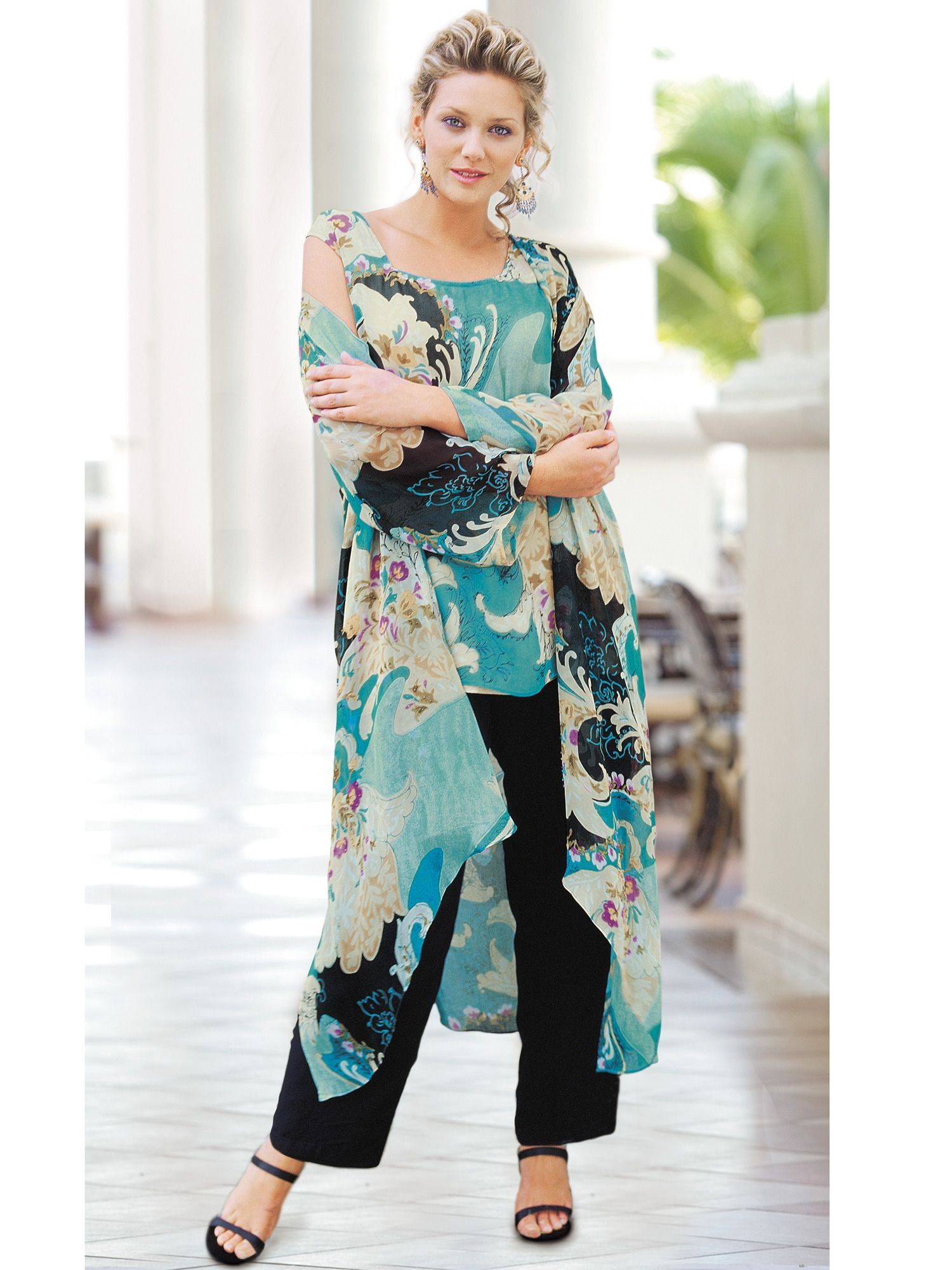 3-Piece Duster and Pants Set | Plus Size Special Occasion Dresses ...