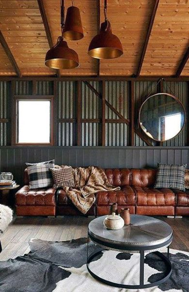 Rustic Barn Bachelor Pad Living Room Ideas