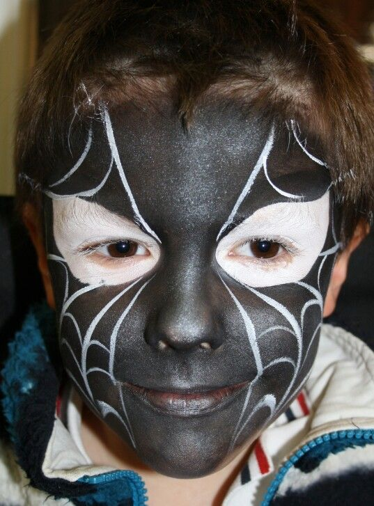 Black spiderman face painting