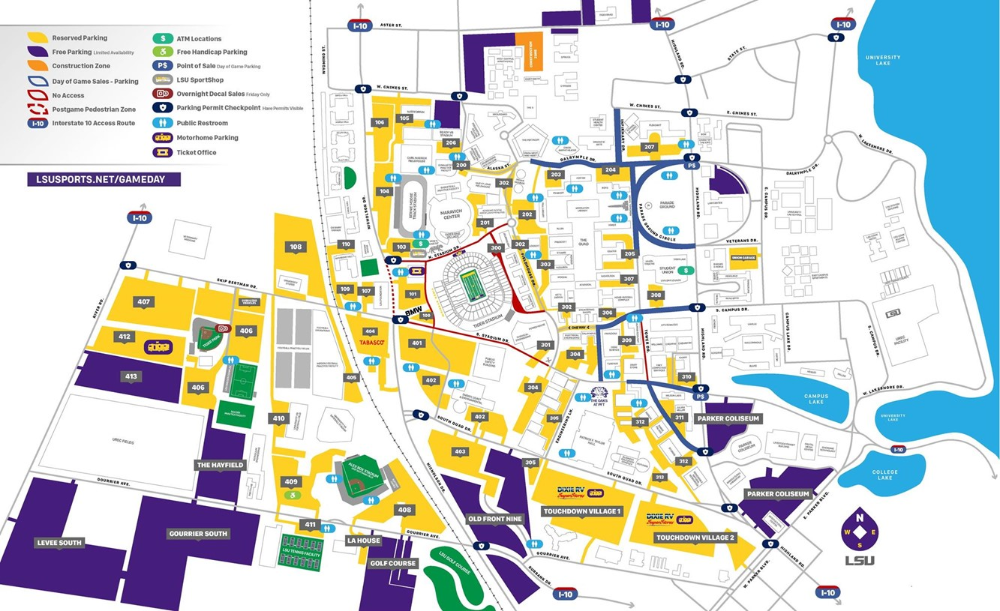 Lsu Football Parking Map 2019 Lsu Tigers Lsu Football Lsu Lsu Alabama