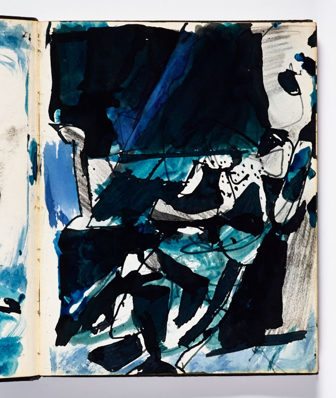 Diebenkorn Ink Wash Or Watercolor Pen And Ink And Graphite Page