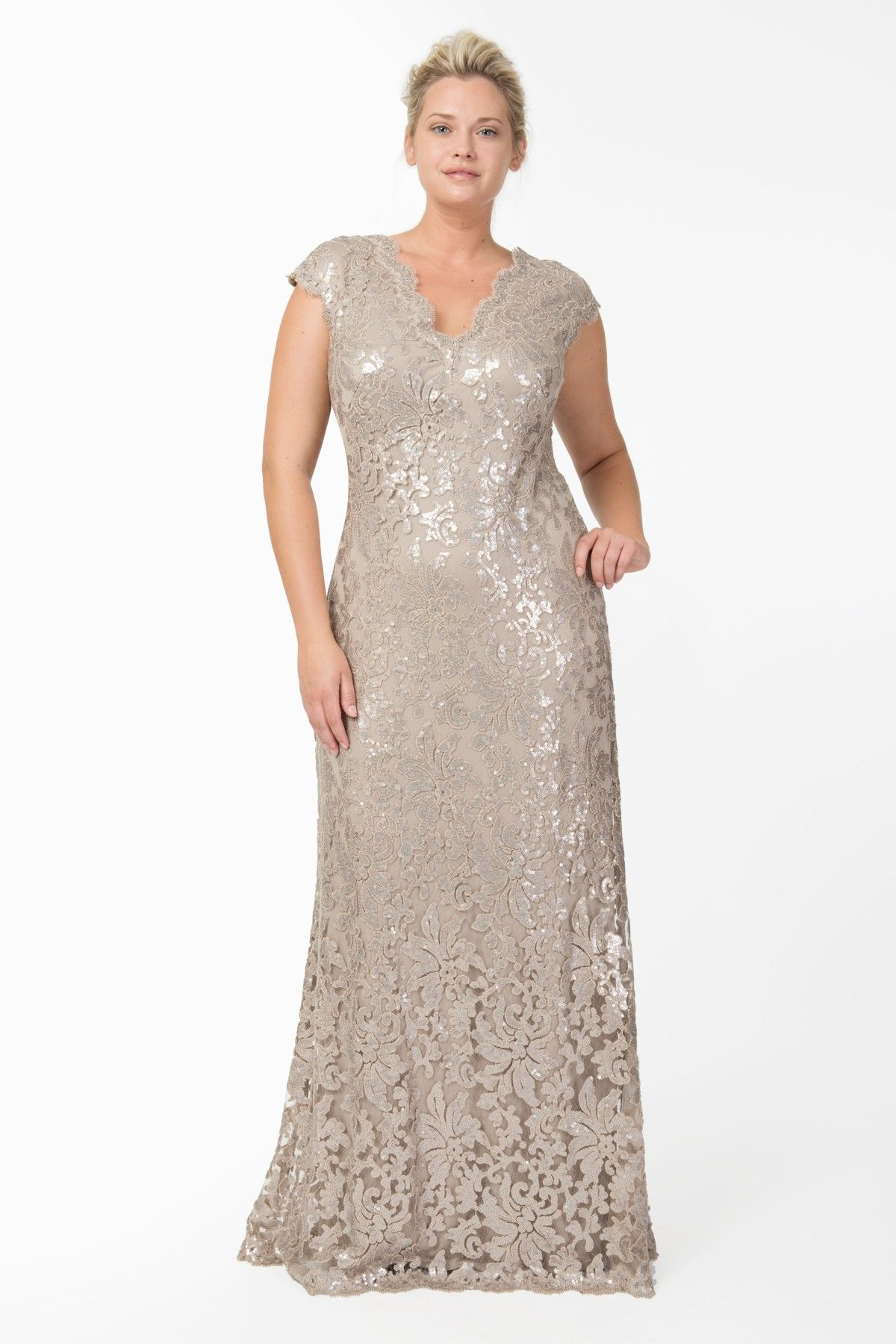 Silver wedding dresses plus size  Paillette Embroidered Lace Scalloped VNeck Gown in Sand  Plus Size